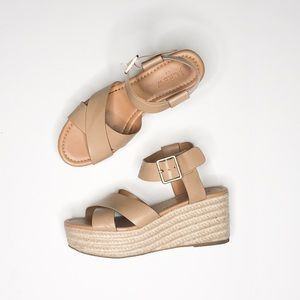 J. Crew beige wedges sandals 6